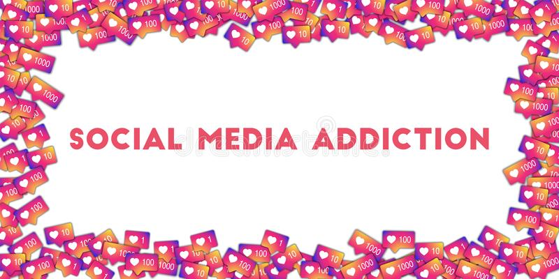 Social media addiction. Social media icons in abstract shape background with gradient counter. MAY 01, 2018: Social media addiction. Social media icons in royalty free illustration