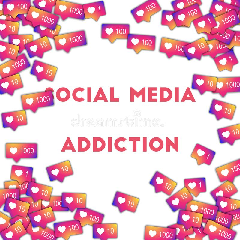 Social media addiction. Social media icons in abstract shape background with gradient counter. Socia. L media addiction concept in fantastic vector illustration stock illustration