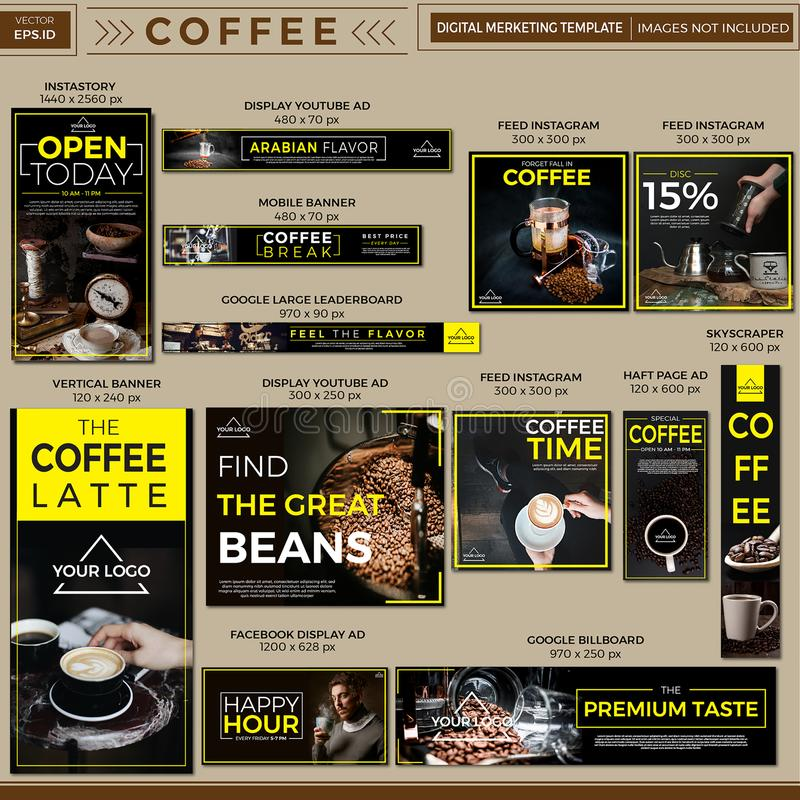 Digital Marketing template Vector Design. Digital Marketing template for coffee shop and coffee promotion banner and social media ads  Vector Design royalty free stock image