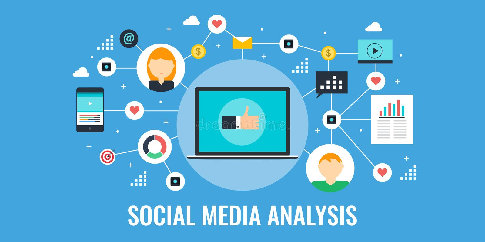 Social media analysis, data, information, research for marketing. Flat design vector banner. Concept of social media analysis, data research and audience stock illustration