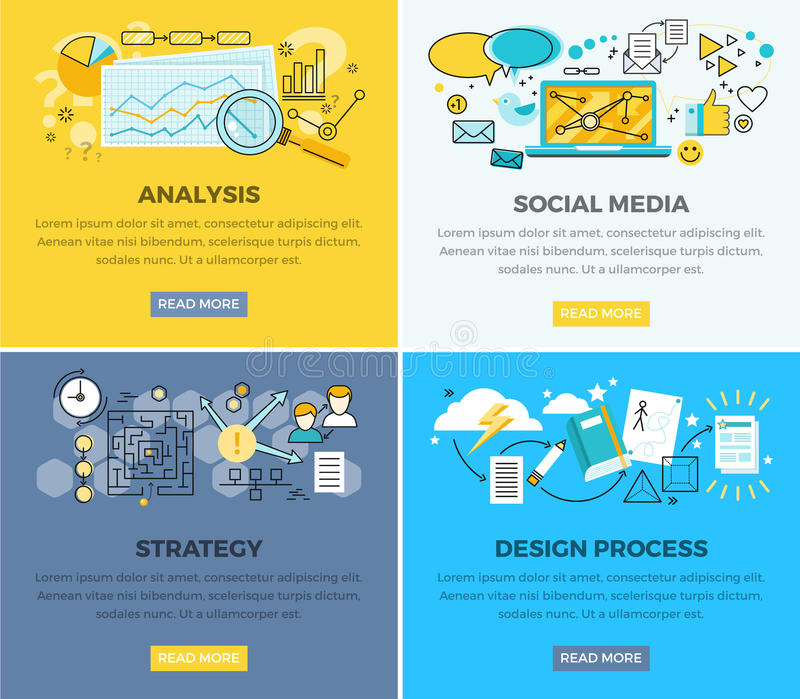 Social Media Analysis and Design Progress Strategy. Vector web poster. Magnifying glass on paper with diagram, laptop and users signs around, strategy plan and stock illustration