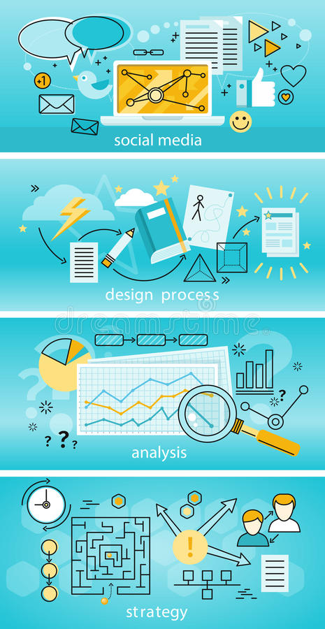 Social Media Analysis and Strategy vector illustration