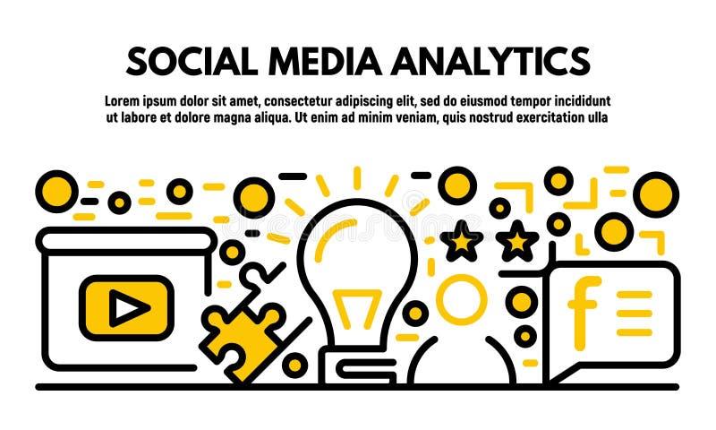 Social media analytics banner, outline style. Social media analytics banner. Outline illustration of social media analytics vector banner for web design royalty free illustration