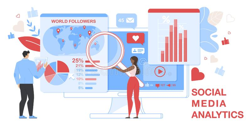 Social Media Analytics Horizontal Banner. Analytic. Social Media Analytics Horizontal Banner. Seo Analytic Team It Specialists with Magnifier Glass and Tablet vector illustration