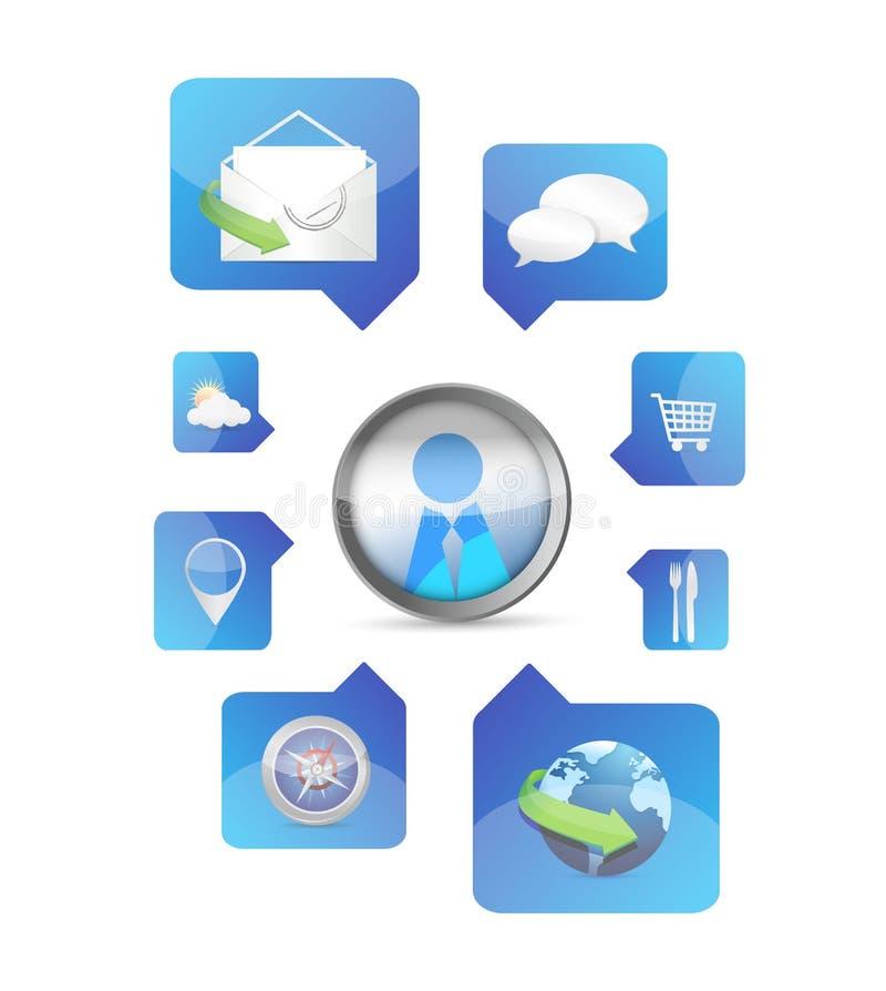 Social Media Application Icons Illustration Design Stock Image