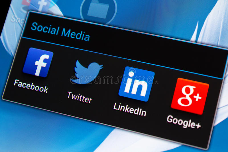 Social media applications on mobile phone royalty free stock image
