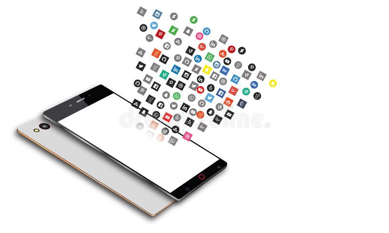 Social Media Apps Flying Out Android Mobile Phone stock illustration