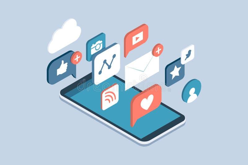 Social media apps on a smartphone stock illustration