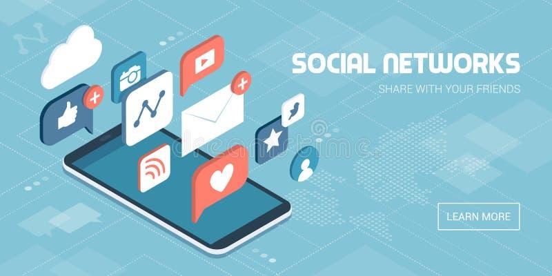 Social media apps on a smartphone royalty free illustration
