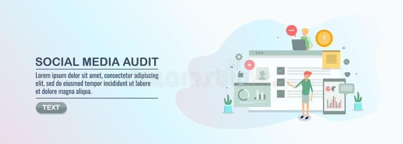 Social media audit, social data analysis, marketing budget, engagement, growth, sales, revenue analytics. royalty free illustration