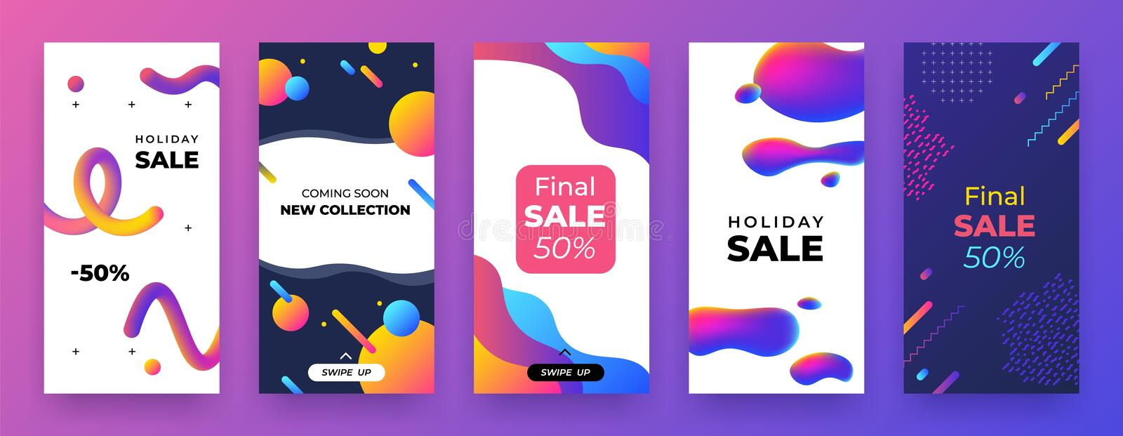 Social media banner. Mobile discount coupon, story sale page template, abstract promo app layout. Vector landing. Social media banner. Mobile discount coupon vector illustration