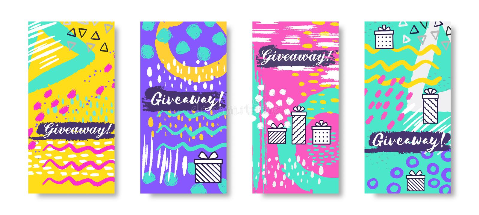 Social media banners. Giveaway fashion story frames, trendy sale post. Vector gift boxes and winning prizes concept royalty free illustration
