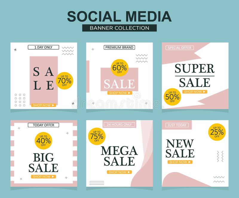 Social media banners pack. Vector illustrations for website and mobile website banners, posters, email and newsletter designs, ads stock illustration