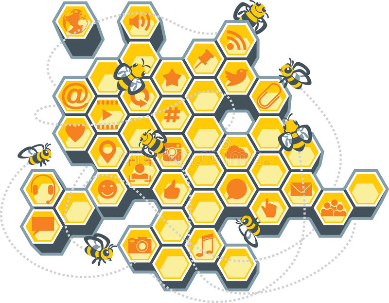Social Media Bee Hive. Vector Illustration of a honeycomb filled with social media icons. AI8 vector file included vector illustration
