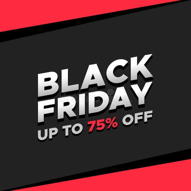 Social Media Black Friday Promo Red Pink Post Model vector illustration