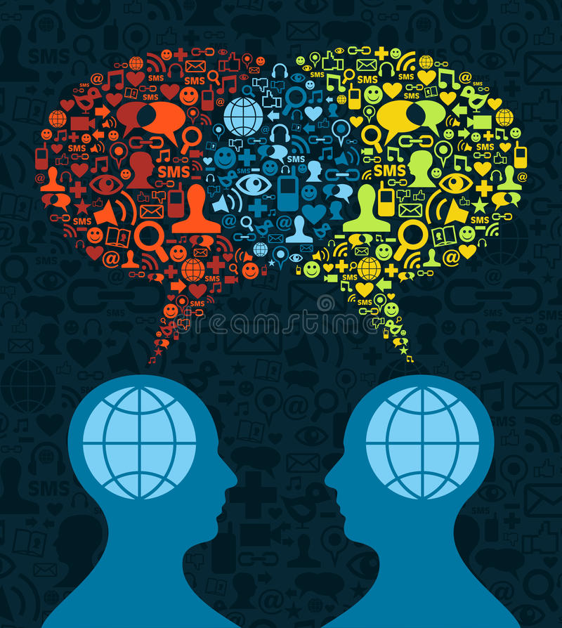 Social media brain communication. Two human figures face to face in conceptual social media communication on icon set blue background. Vector file available