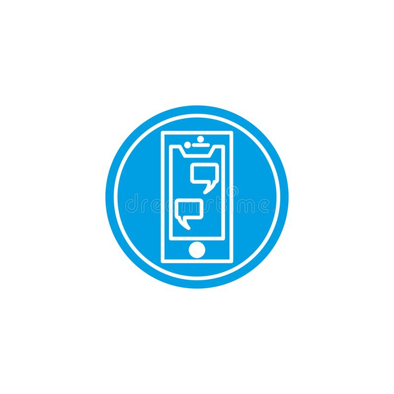 Social media bubble and smartphone icon block flat design vector illustration