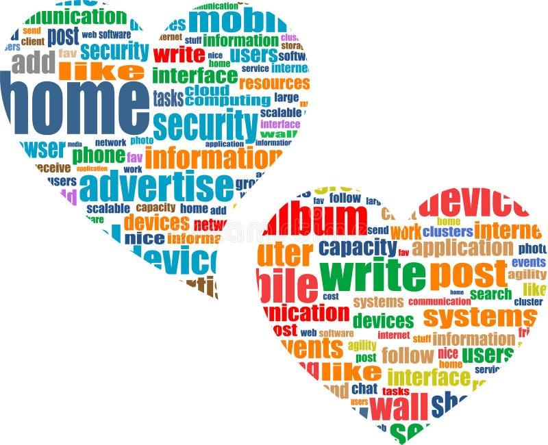 Social media business concept in love heart