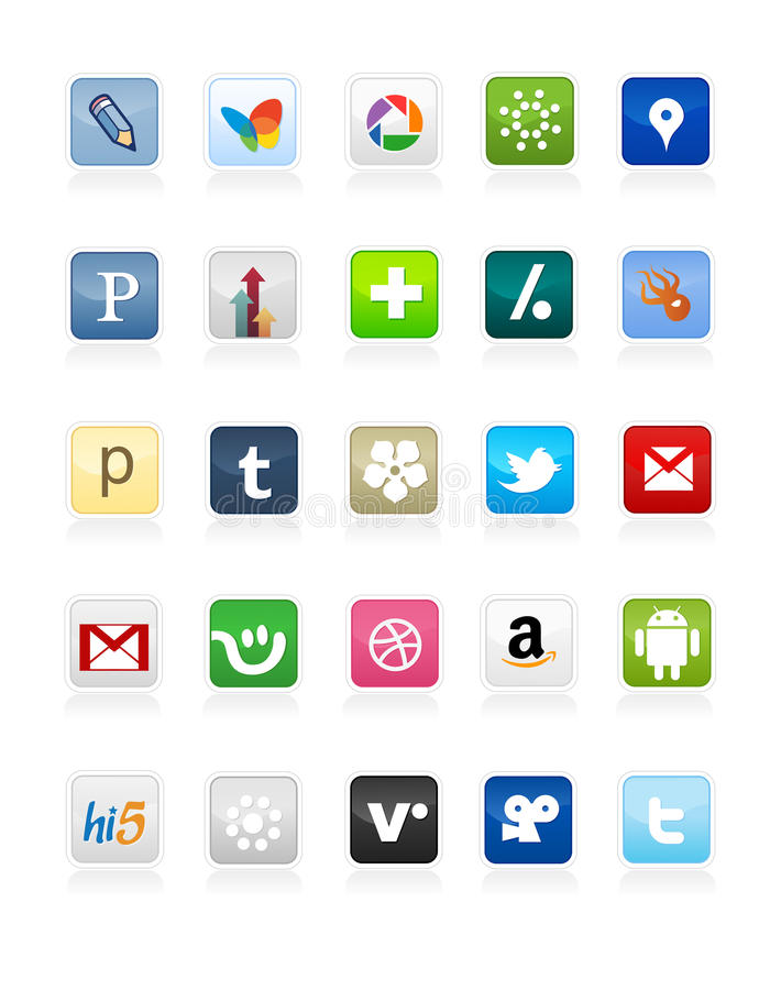 Social Media Buttons 2. Collection of 25 most popular social media and network buttons colorful, isolated on white background stock illustration