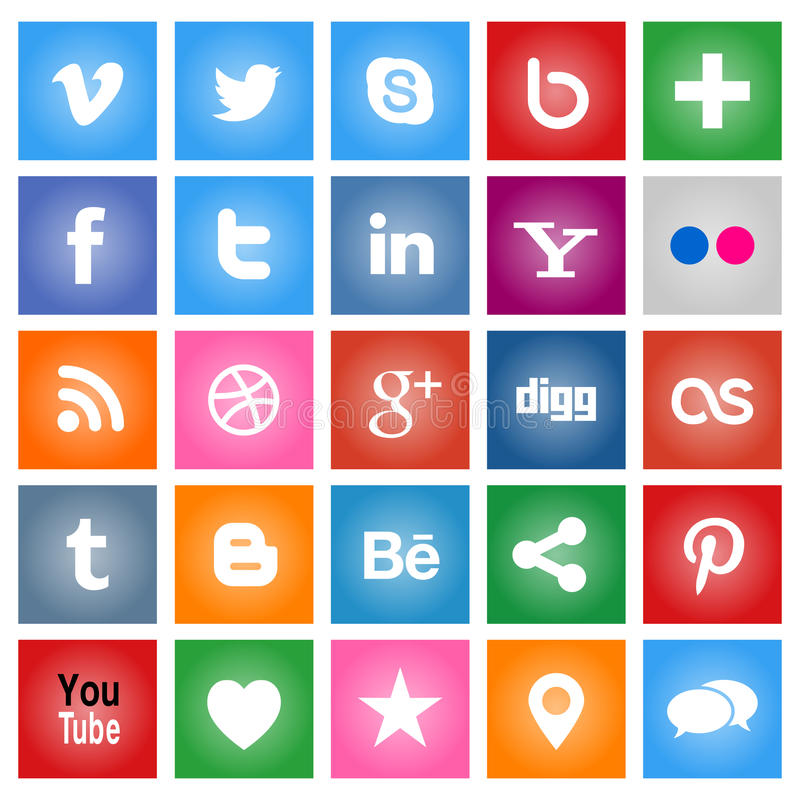Social Media Buttons. Collection of most popular social media and network buttons icons royalty free illustration