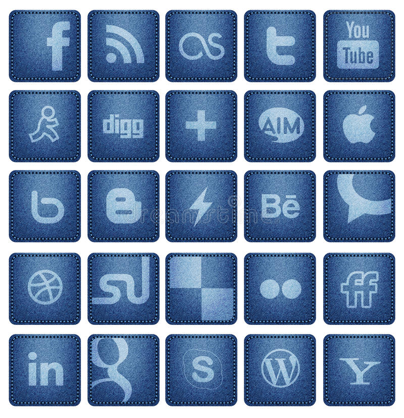 Social Media Buttons 1. Collection of 25 most popular social media and network buttons / icons , on blue denim texture background. vector file can upload on vector illustration