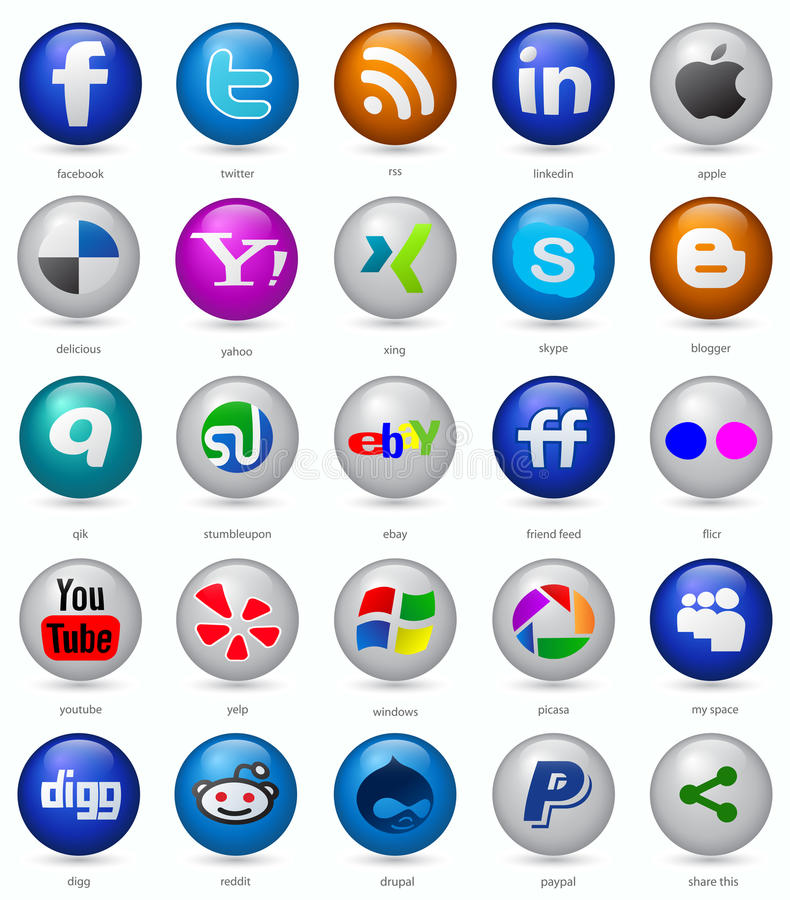 Social media buttons set. Set of buttons with social media