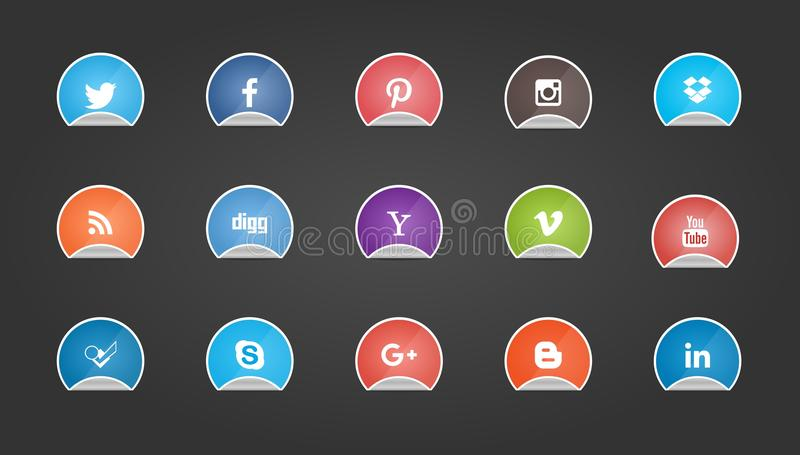 Social Media Buttons on Sticker Shape stock images