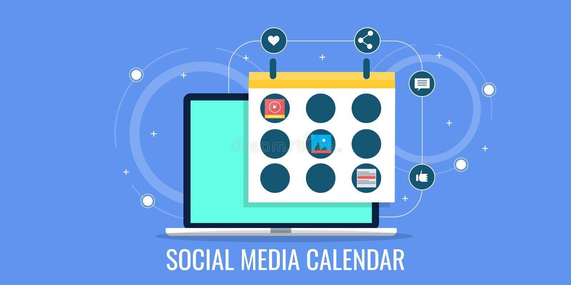 Social media calendar, digital marketing strategy development, business event planning. Maintaining a calendar for social media business strategy development vector illustration