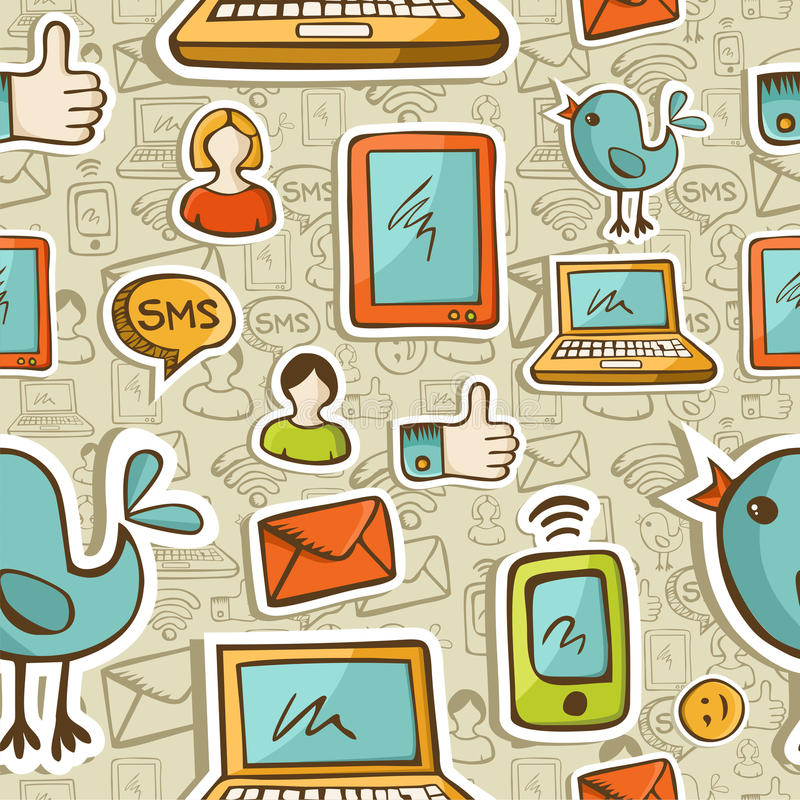 Download Social Media Cartoon Icons Colorful Pattern Stock Vector - Image: 25831083