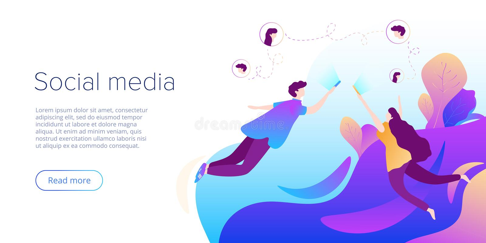 Social media chat concept in vector illustration. Teens using smartphones for virtual conversation, sharing or writing comments. Creative website layout or stock illustration