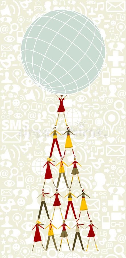 Download Social Media Christmas Tree Of People And Globe Stock Vector - Image: 21790183