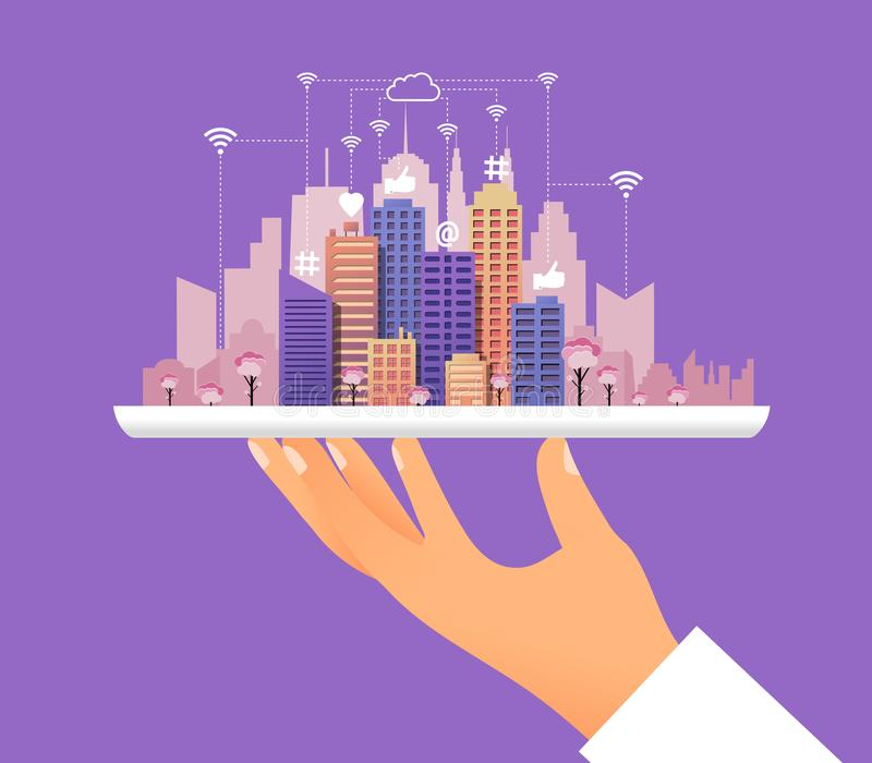 Social media city concept. With human hand holding tablet like waiter with modern cityscape like heart at hashtag wifi symbols and internet network. Vector stock illustration