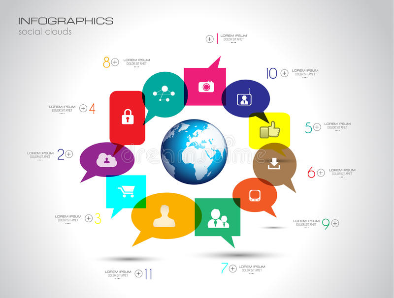 Social Media and Cloud concept Infographic background vector illustration