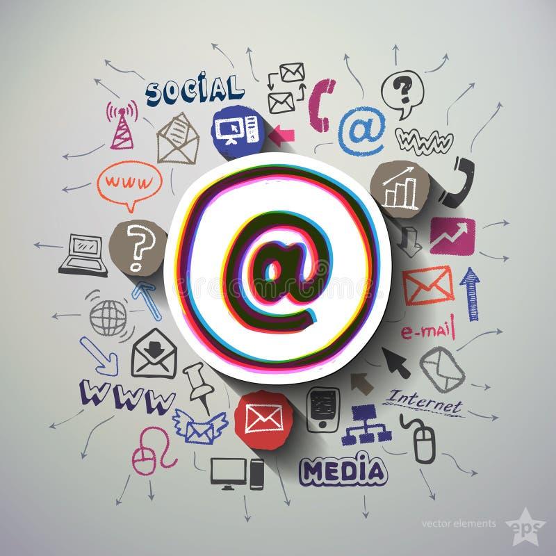 Social Media-Collage mit Ikonenhintergrund vektor abbildung