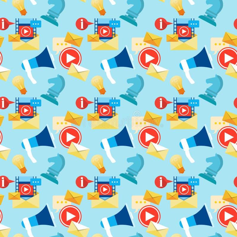 Social Media Communication Blogging Seamless Pattern stock illustration