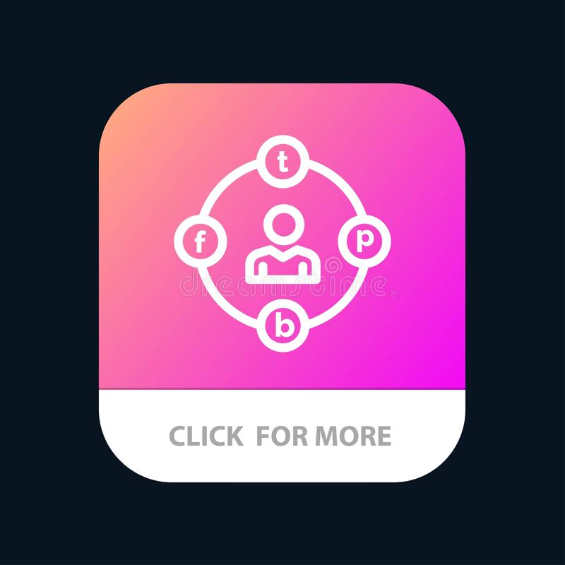 Social Media, Communication, Distractions, Media, Procrastination Mobile App Button. Android and IOS Line Version vector illustration