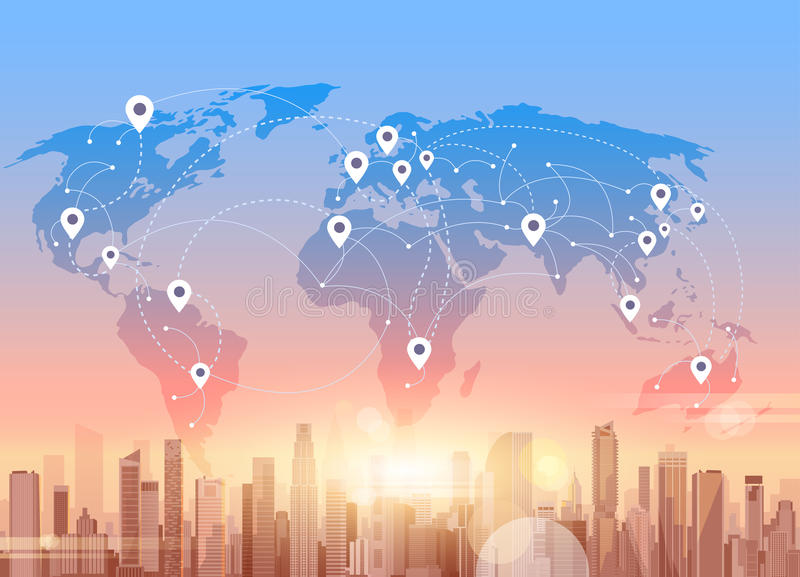 Social Media Communication Internet Network Connection City Skyscraper View World Map Background vector illustration