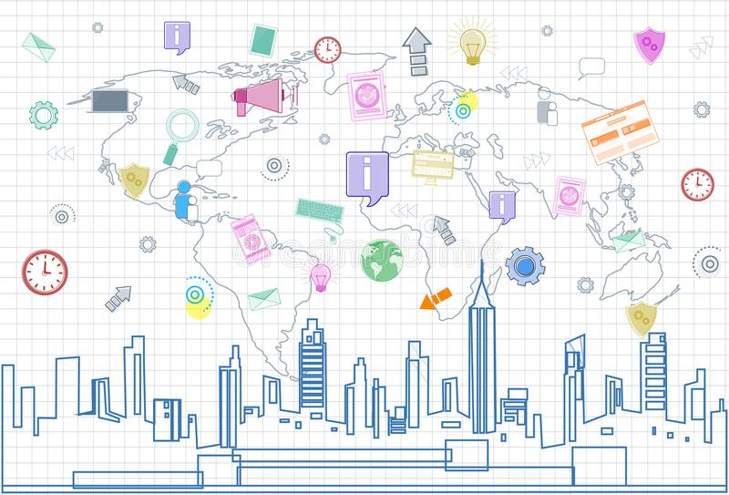 Social Media Communication Internet Network Connection Over City Skyscraper View Cityscape And World Map Squared. Background Vector Illustration royalty free illustration