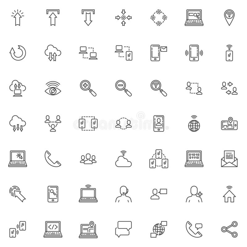 Social media communication and network line icons set royalty free illustration
