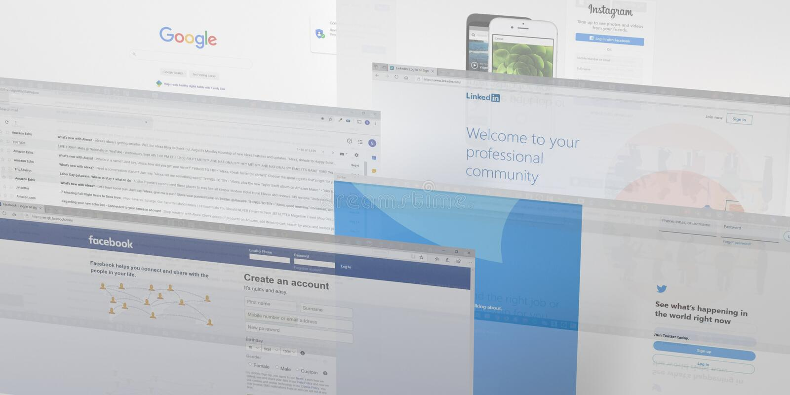 Social media and communication tabs background stock image