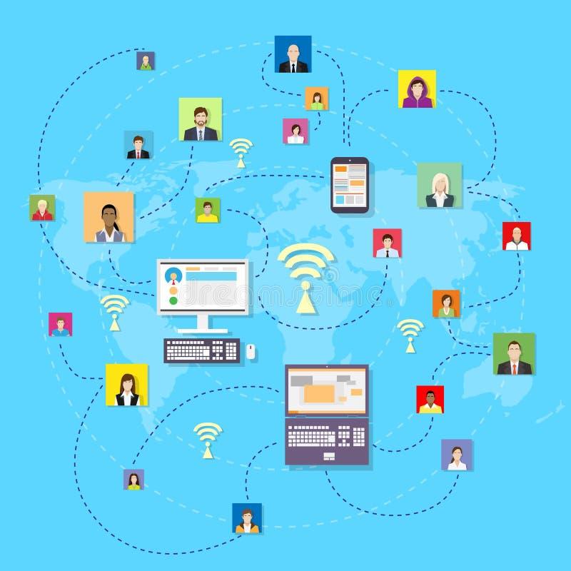 Social Media Communication World Map Concept stock illustration