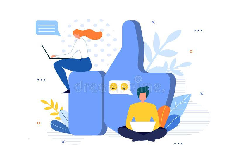 Social Media Community and Huge Like Sign Cartoon. Flat People Characters Sitting around Big Thumbs up Symbol. Man and Woman Networking and Blogging on Laptop stock illustration