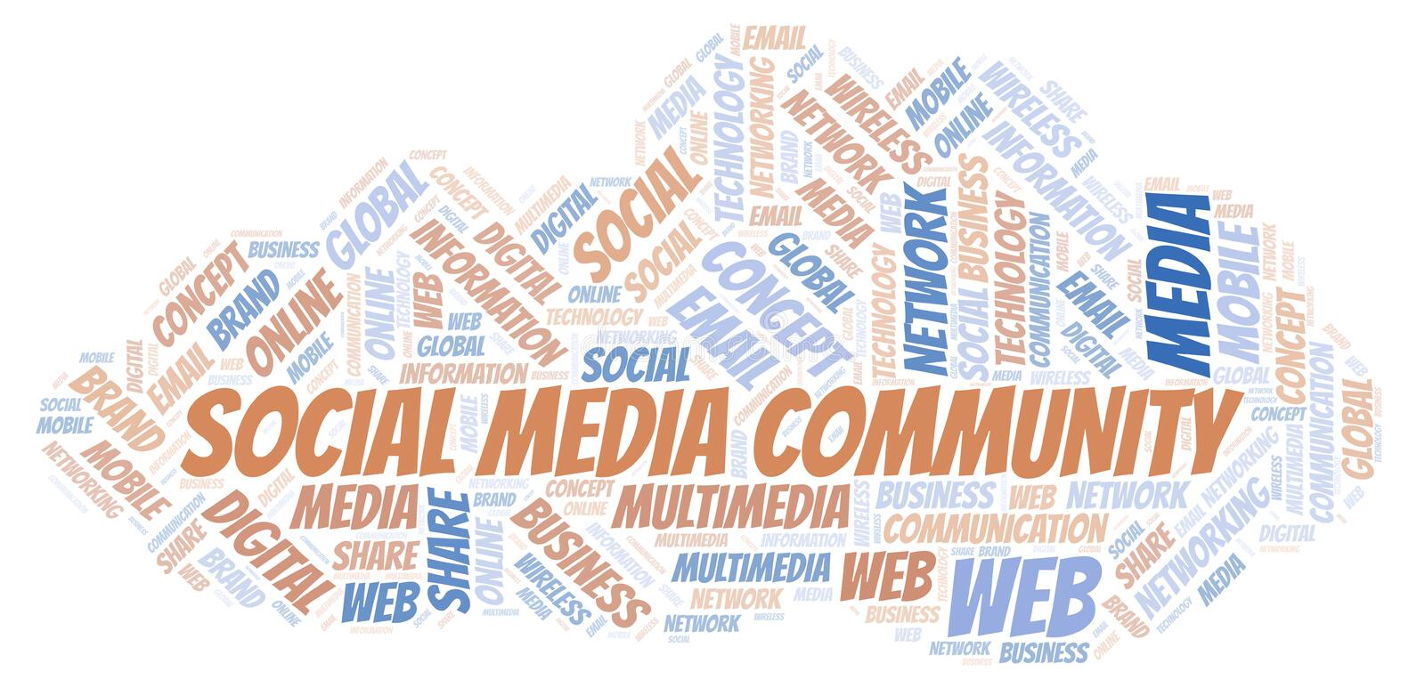 Social Media Community word cloud. Word cloud made with text only royalty free illustration