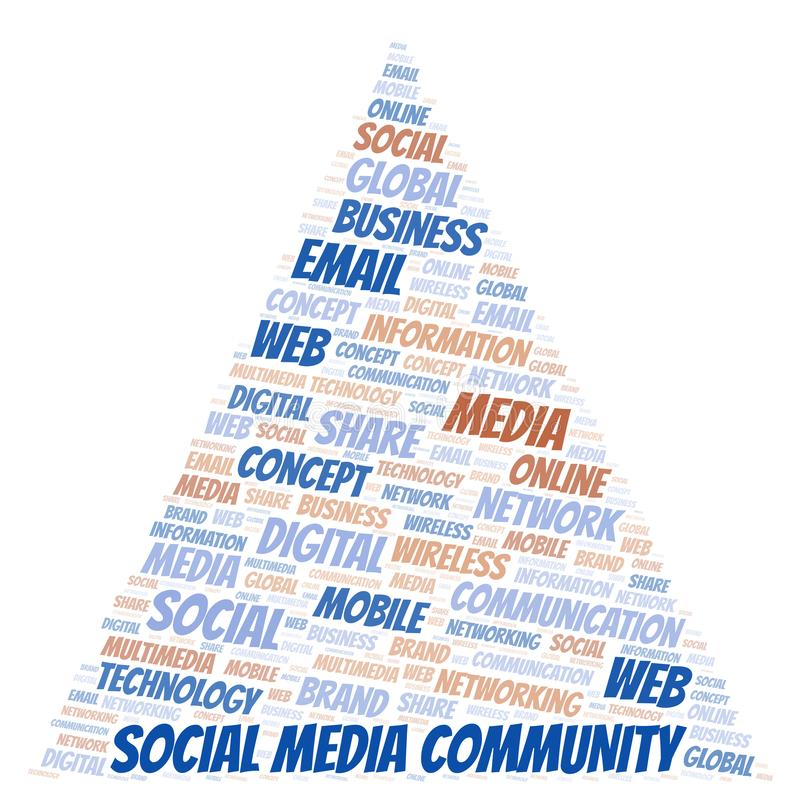 Social Media Community word cloud. Word cloud made with text only stock illustration