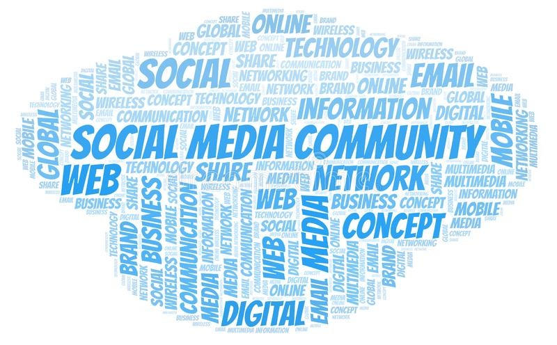 Social Media Community word cloud. Word cloud made with text only vector illustration