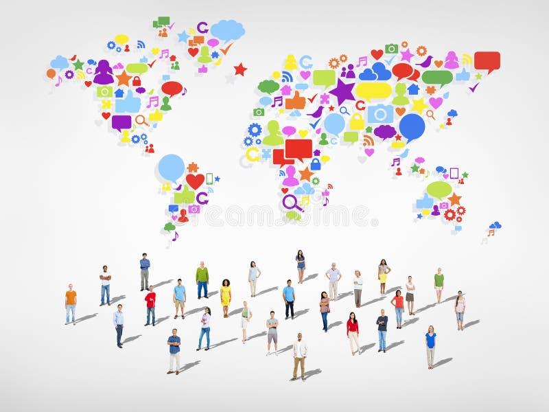 Social Media Community Worldwide Connection Concept stock illustration