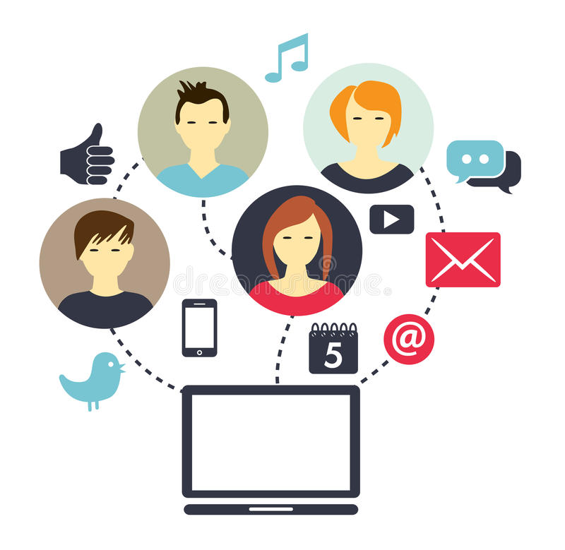 Social Media Composition. Picture illustrating how people are connected through social media royalty free illustration