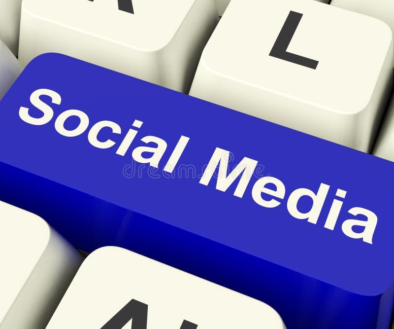 Social Media Computer Key Showing Online Community. Social Media Blue Computer Key Showing Online Community royalty free illustration