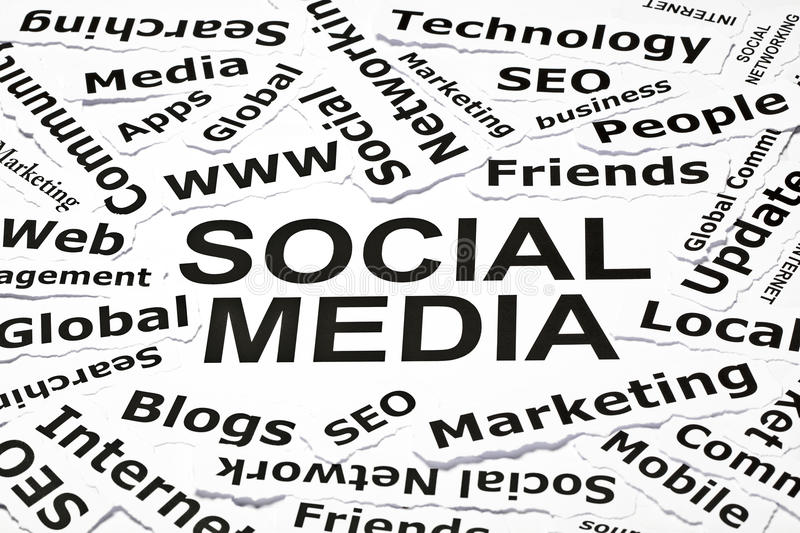 'Social media' concept. With other related words