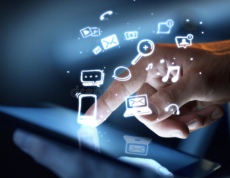 Social media concept. Hand touching touch pad, social media concept